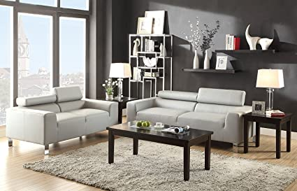 Amazon.com: 2Pcs Modern Grey Leather Sofa and Loveseat With ...