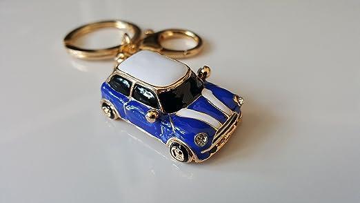 2 opinioni per Portachiavi a forma di Mini Cooper, blu/rosso, con strass e finiture color oro