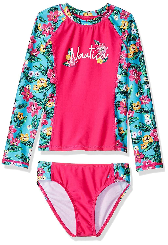 Nautica Little Girls' Rashguard Swim Suit Set, Floral Pink, 5 by Nautica (Image #1)