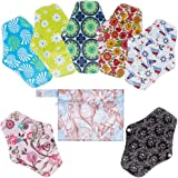 Rovtop Reusable Sanitary Towels Pads(7 in 1, 25.4cm), Panty Liners with Wet Bag,Heavy Flow Night Washable Cloth…