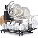 KINGRACK 2 Tier Dish Rack, 304 Stainless Steel Dish Drainer, Large Capacity Dish Drying Rack with Drip Tray, Removable…