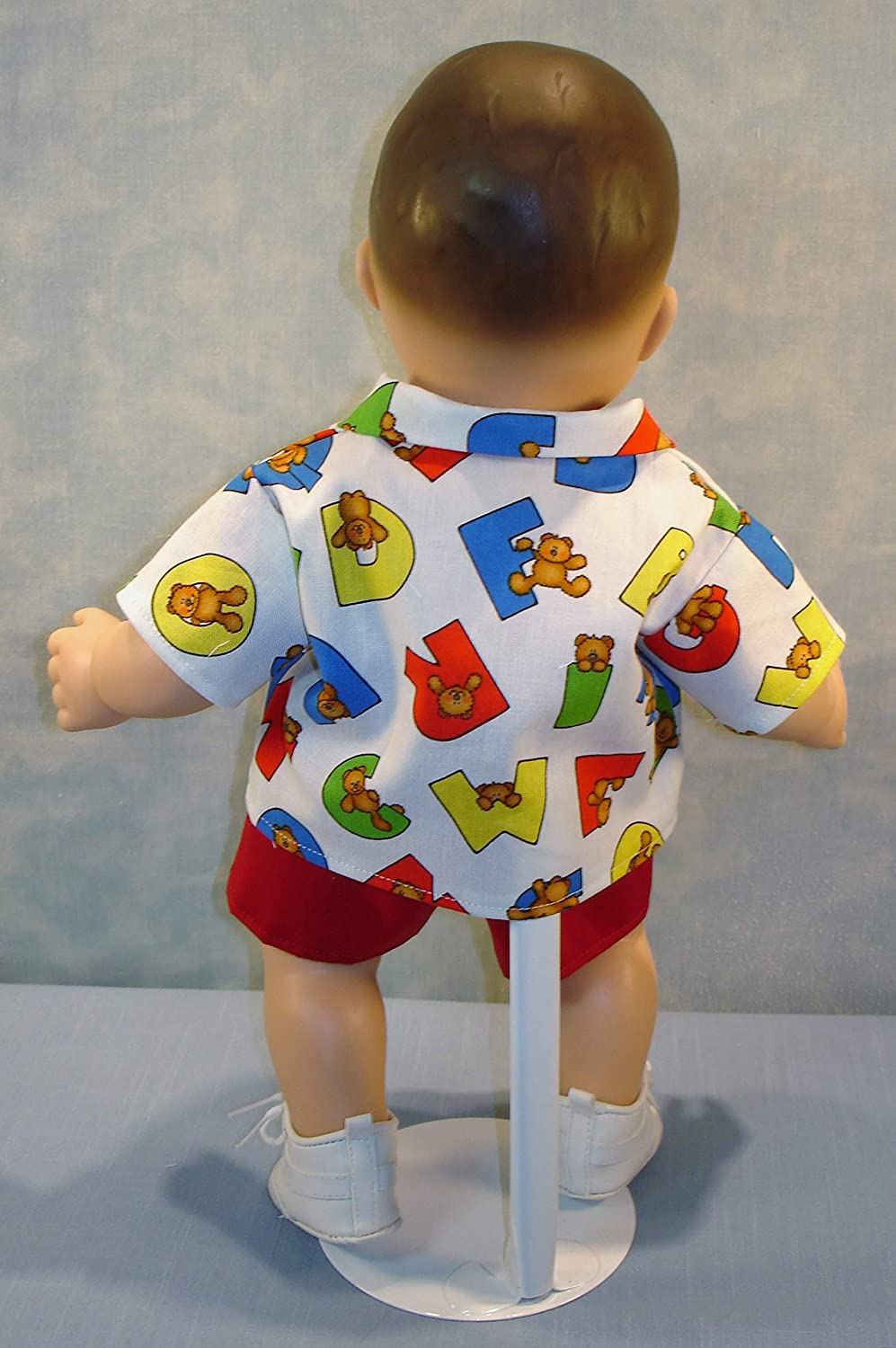 15 Inch Doll Clothes Bears on Alphabets Boys Back to School Outfit handmade by Jane Ellen to fit 15 inch baby dolls