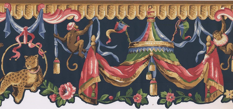 Rot // Beige Motiv Zirkus 4,6 x 22,9 cm LT9417B Tapetenbord/üre