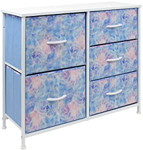 Sorbus Nightstand with 5 Drawers - Bedside Furniture & Night Stand End Table Dresser for Home, Bedroom Accessories, Office, College Dorm, Steel Frame, Wood Top (Pastel Tye-die)