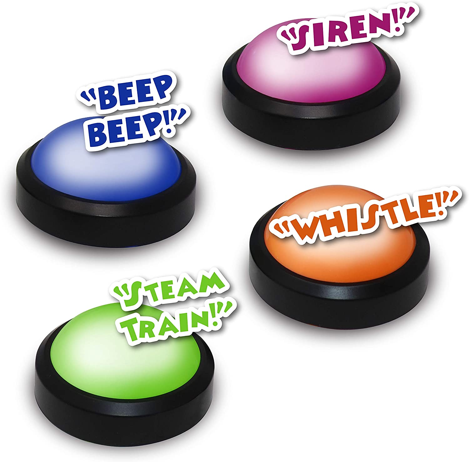 Spelling Bees and More Teachers Choice 4 Pack Light Up Game Buzzers with Unique Sounds for Each Buzzer Great for Trivia Competition