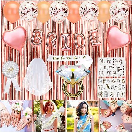 Confetti Globos y Bride to be Banda Despedida de Soltera Accesorios Globos de Oro Rosa HOWAF 45pcs Bride To Be Globos Banner para Fiestas de Despedida de Soltera Decoraciones