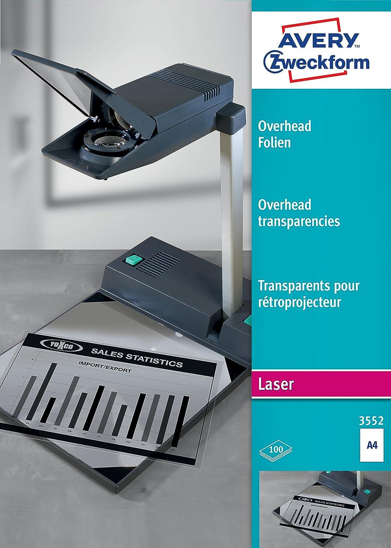 Avery Zweckform 3552 Films transparents pour rétroprojecteur A4 pour imprimante et copieur laser 100 feuilles (Import Allemagne)