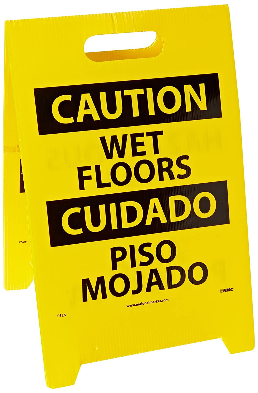 WET FLOOR HAZARDOUS AREA Legend CAUTION NMC FS26 Bilingual Double Sided Floor Sign Coroplast 12 Length x 20 Height Black on Yellow