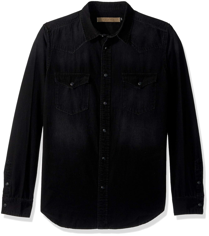 VIGOSS Mens Woven Denim Shirt