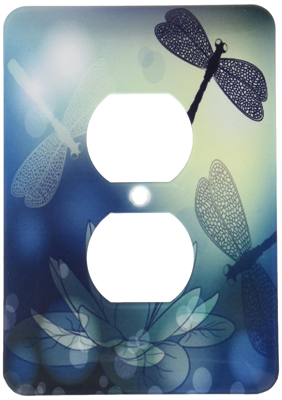 3dRose lsp/_210922/_6Translucent Shimmering Blue Dragonflies And 2 Plug Outlet Cover Multicolor