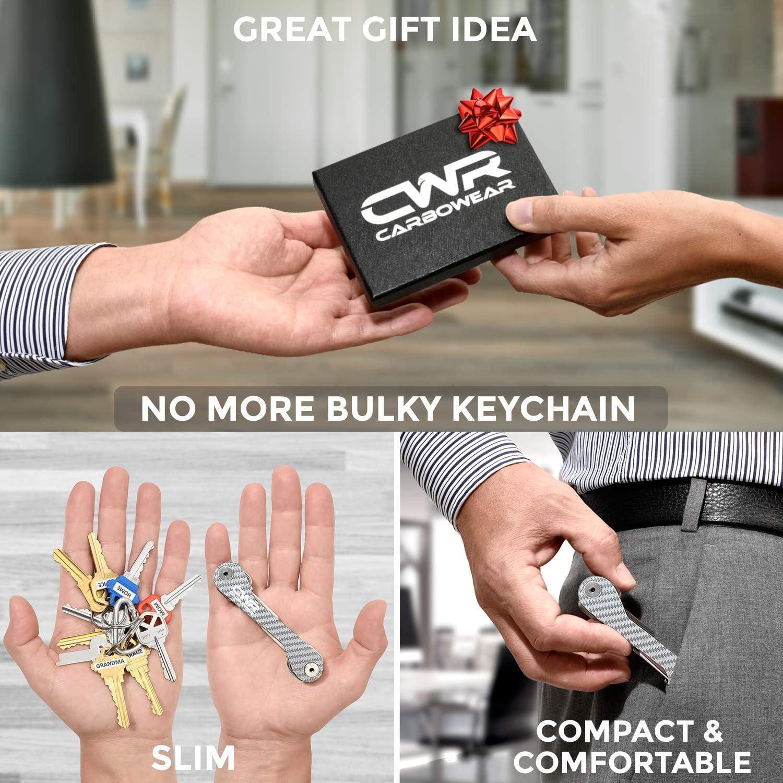 Coin Holder UP to 22 Keys for House Easy Assembly Fob Car Loop Carabiner Compact Smart Key Holder Organizer Carbon Fiber Key Organizer Keychain Silver Sand Mailbox Locks Bottle Opener