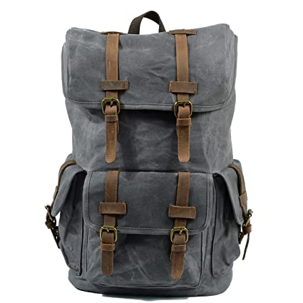 1f351376fb Image Unavailable. Image not available for. Color  KEROUSIDEN Retro  Waterproof Wax Canvas Travel Backpack Student Bag Large Capacity Outdoor  Climbing ...