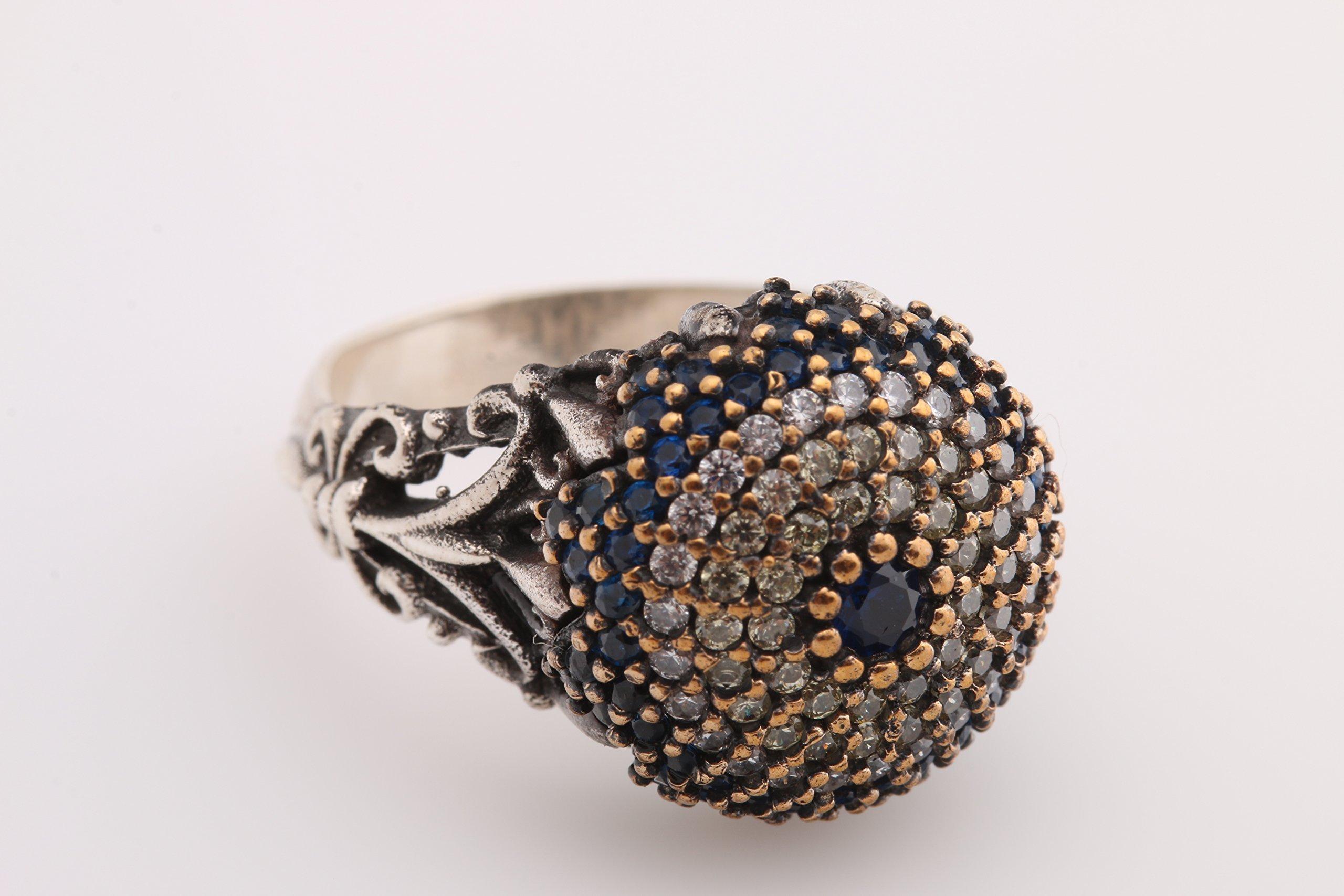 Evil Eye Turkish Nazar Handmade 925 Sterling Silver Round Cut Sapphire Citrine White Topaz Ring All Size