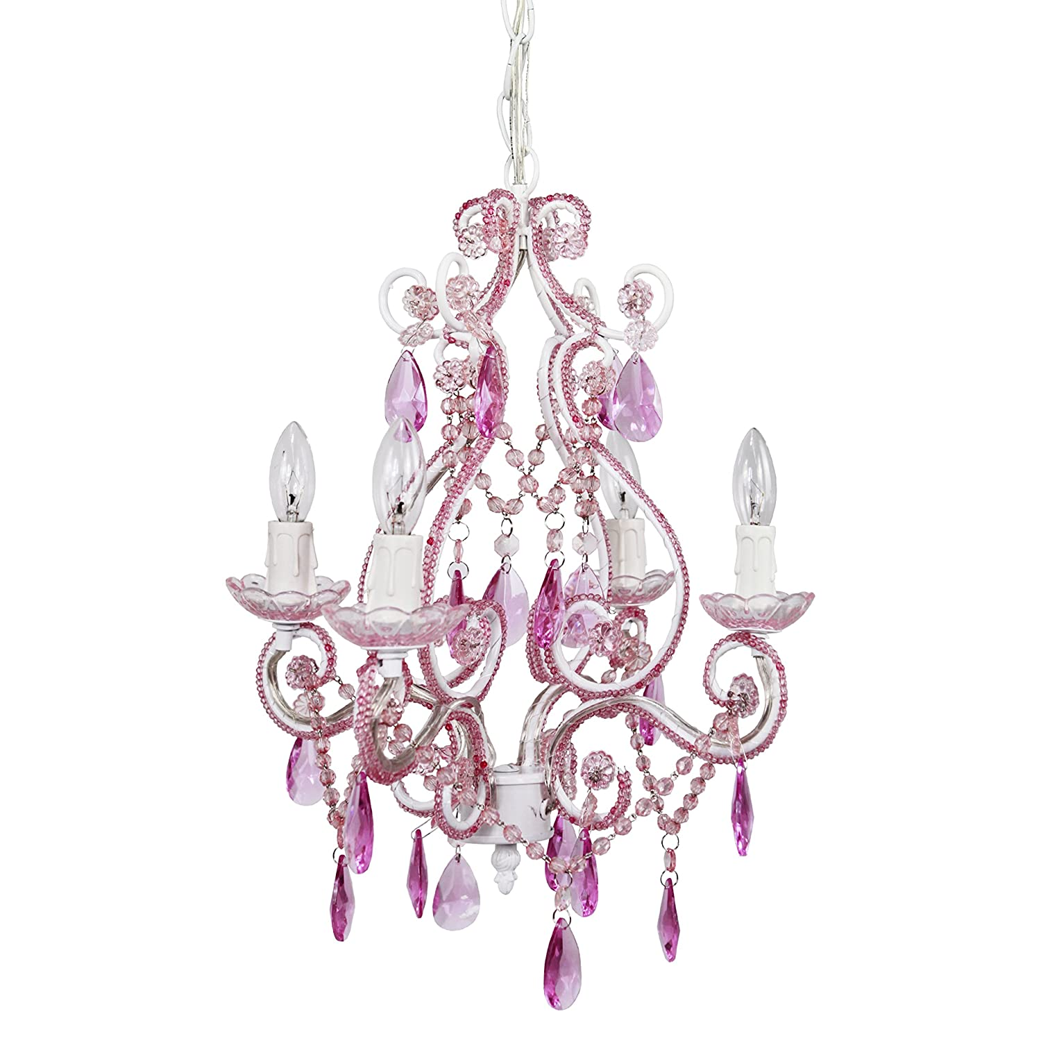 Tadpoles 4-Bulb Vintage Plug-In or Hardwired Mini-Chandelier, Pink Sapphire