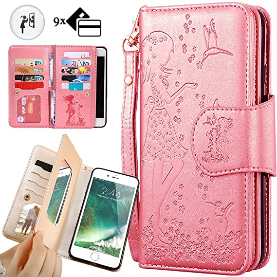 the best attitude 91194 f37b0 iPhone 8 Plus Purse Case,iPhone 7 Plus Wallet Case,Auker Trifold 9 Card  Holder Vintage Book Leather Folio Flip Magnetic Protective Wallet Case with  ...