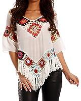 Damen Hippie Shirt Lochmuster Tunika Bedruckt Tunikashirt mit Fransen