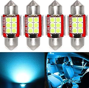 Phinlion Super Bright DE3175 LED Ice Blue Bulb 3030 6-SMD Festoon 1.25