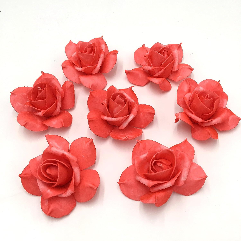 100コーラルローズヘッド人工花スイカレッドSoft Foam Flower Head for Kissing Balls PomanderウェディングセンターピースFloral Decoration B0747LXSMJ