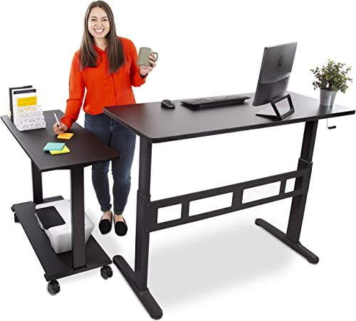 Stand Steady L-Shaped Tranzendesk Standing Desk | Sit to Stand Desk