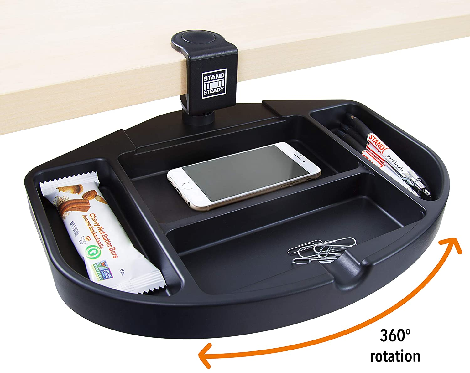 Black Stand Steady Original Desk Potato Clamp-On Swivel Pencil Drawer//Desk Organizer A Unique Desk Drawer Organizer That Provides Under Desk Storage for Pens and Sticky Notes