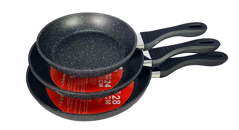 ROYAL SWISS Juego de 3 sartenes (Sartén, Antiadherente, con revestimiento de mármol y mango suave, inducción, Negro, ø20 cm, ø24 cm, ø28 cm: Amazon.es: ...