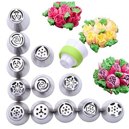 Amazon 12 Piece Stainless Steel Flower Russian Icing Piping Nozzles Tips Kitchen Dining