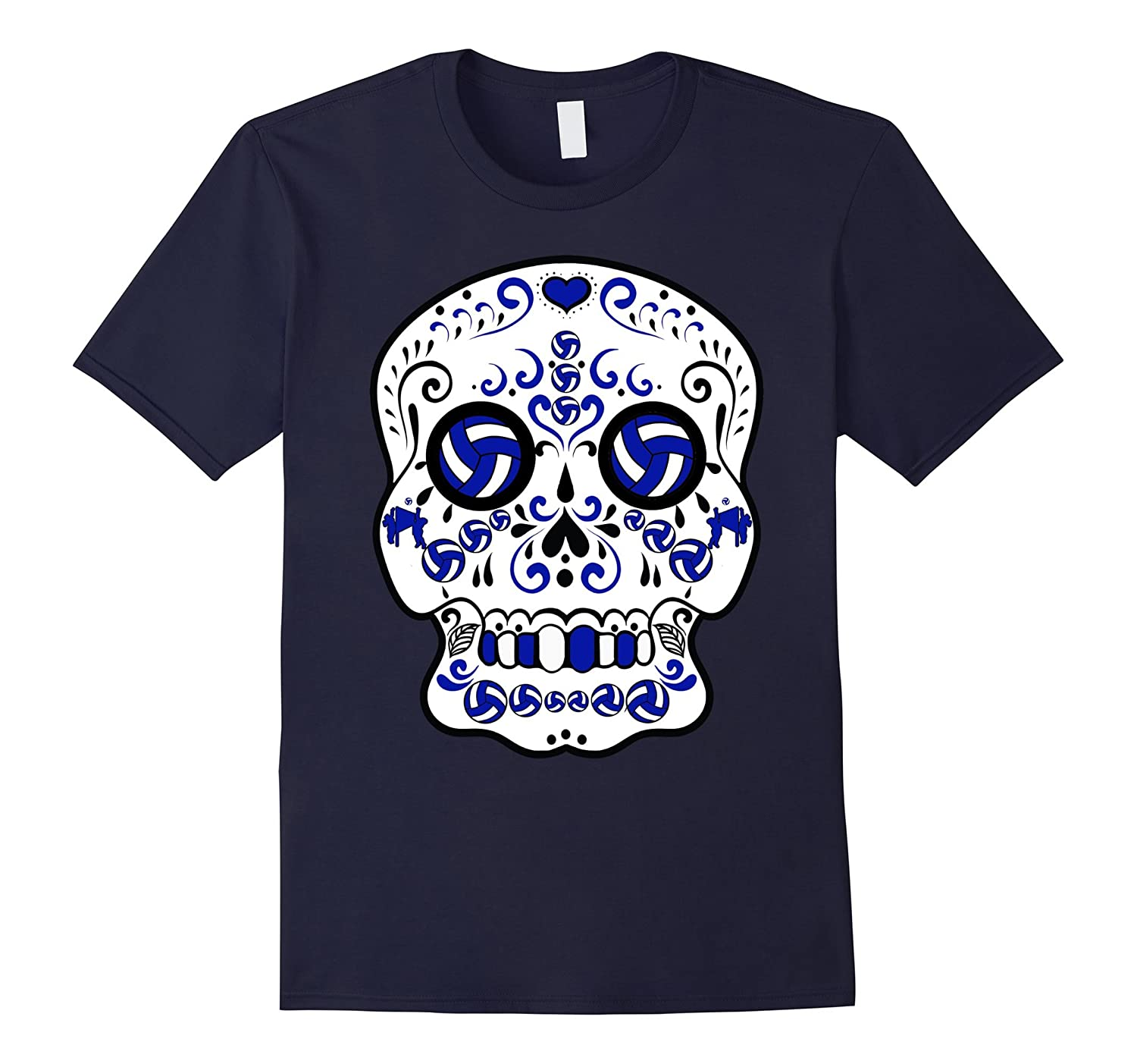 Blue and White Volleyball Sugar Sports Skull T-Shirt-FL