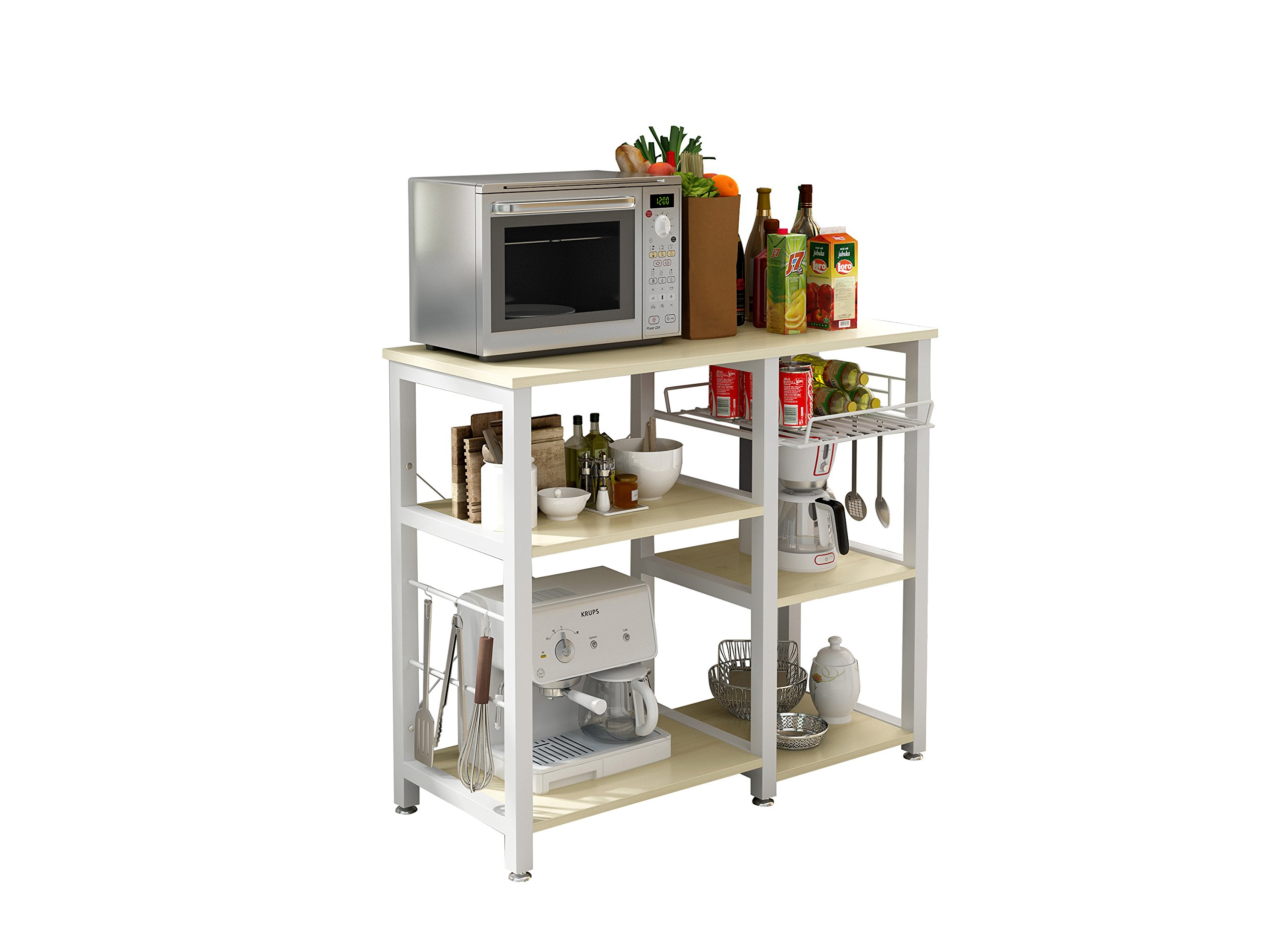 Polar Aurora 3-Tier 35'' Microwave Stand Storage Kitchen Baker's Rack Utility Microwave Oven Stand Storage Cart Workstation Shelf (Beige)