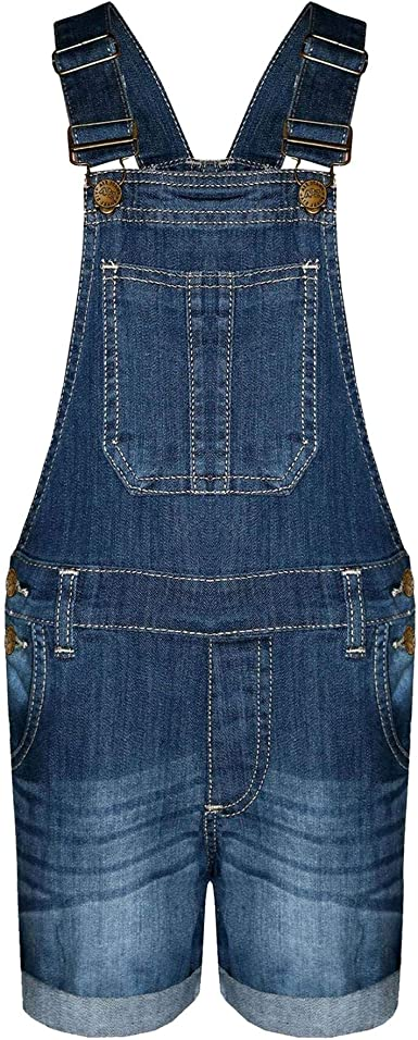 A2Z Kids Girls Dungaree Short Dark Blue Denim Ripped Stretch Jeans Overall Jumpsuits
