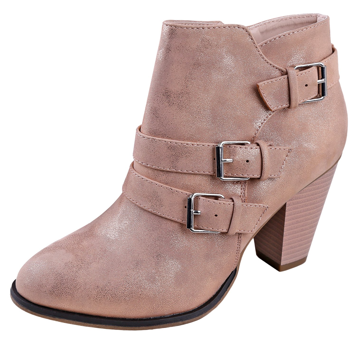 Titan Mall Forever Women's Buckle Strap Block Heel Ankle Booties Rose Gold…