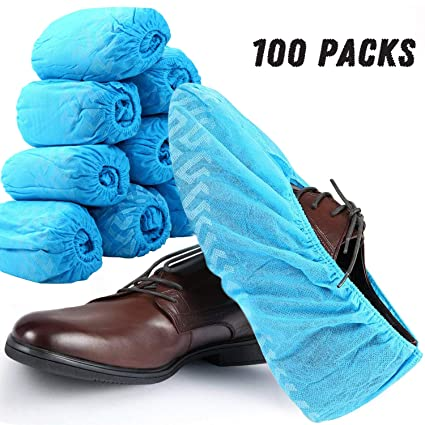 a14567af6e37 Disposable Shoe Covers - 100 Pack (50 Pairs) Boot Covers Nonslip Waterproof  Onesize Fit Most - Perfect for Home Lab Workplace Visiting (Blue) - -  Amazon.com