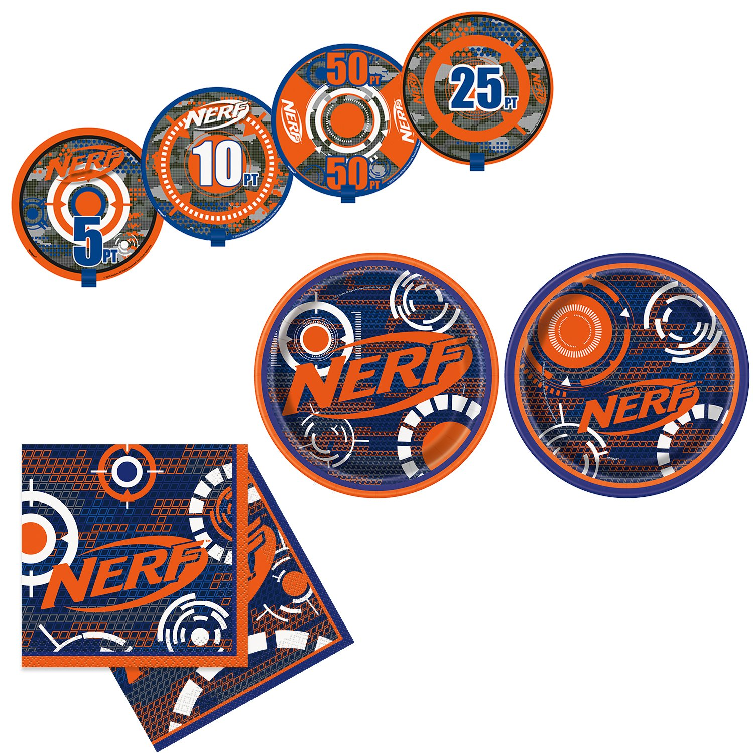 Unique Nerf Party Bundle | Beverage & Luncheon Napkins, Dinner & Dessert Plates, Bull's Eye Decoration | Great for Interactive Sports Birthday Themed Parties