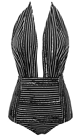 f89f53612 COCOSHIP Black Striped & White Balancing Act Vintage One Piece Backless  Bather Swimsuit High Waisted Pin