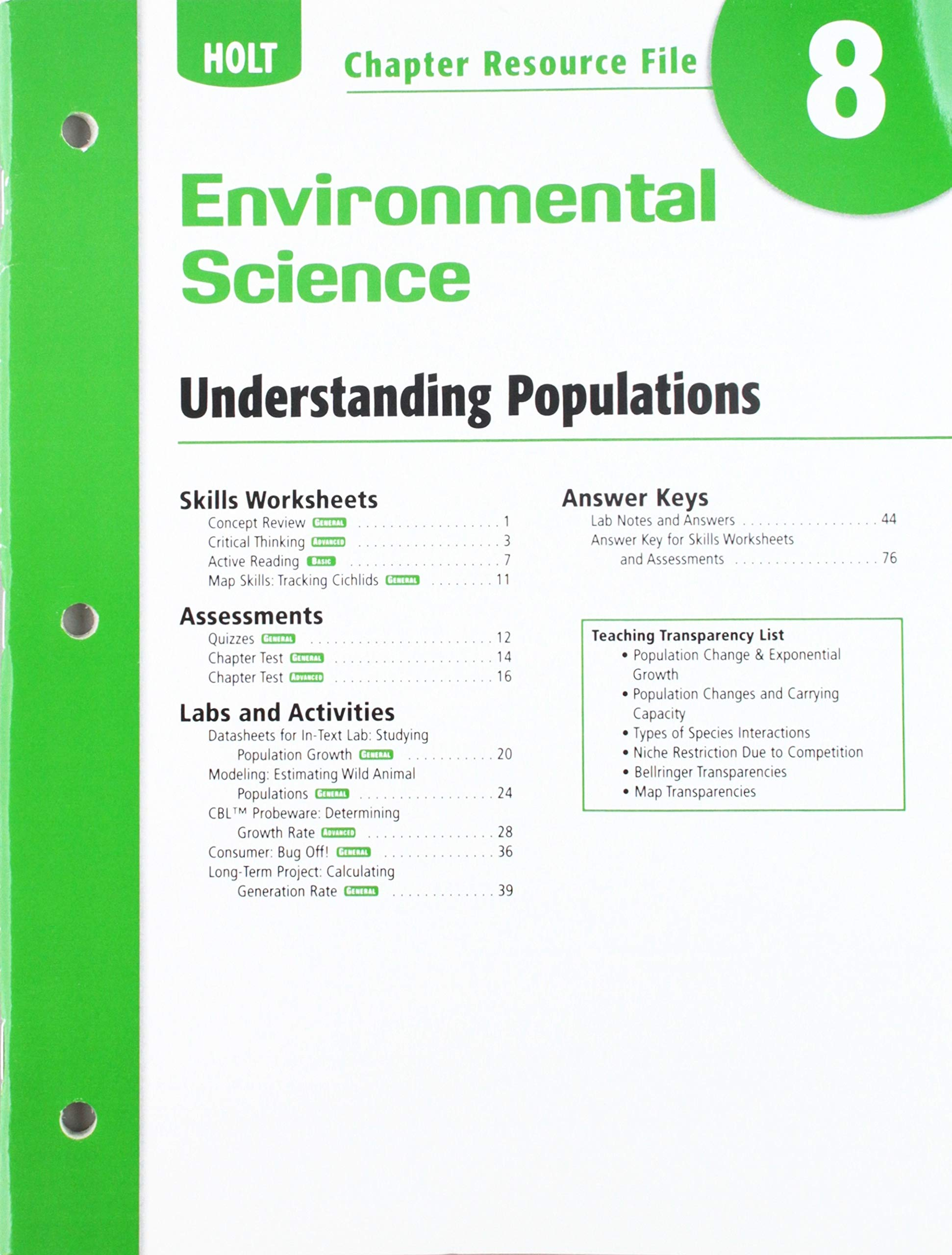 Buy Holt Environmental Science Resource File Chapter 8