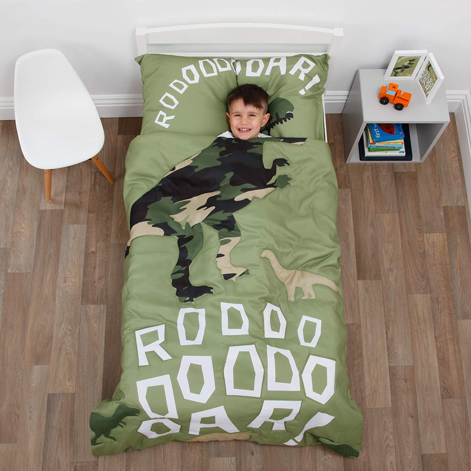 Everything Kids Dinosaur Green Camouflage 4Piece Toddler Bed Set - Comforter, Fitted Bottom Sheet, Flat Top Sheet, Standard Size Pillowcase, Green, Olive, White