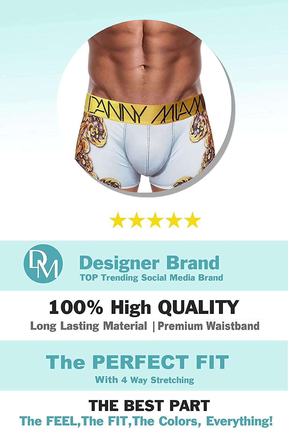 Boxer Briefs in Multiple Colors Patterns /& Designs New Danny Miami Mens Underwear Athletic Low Rise Short Cut