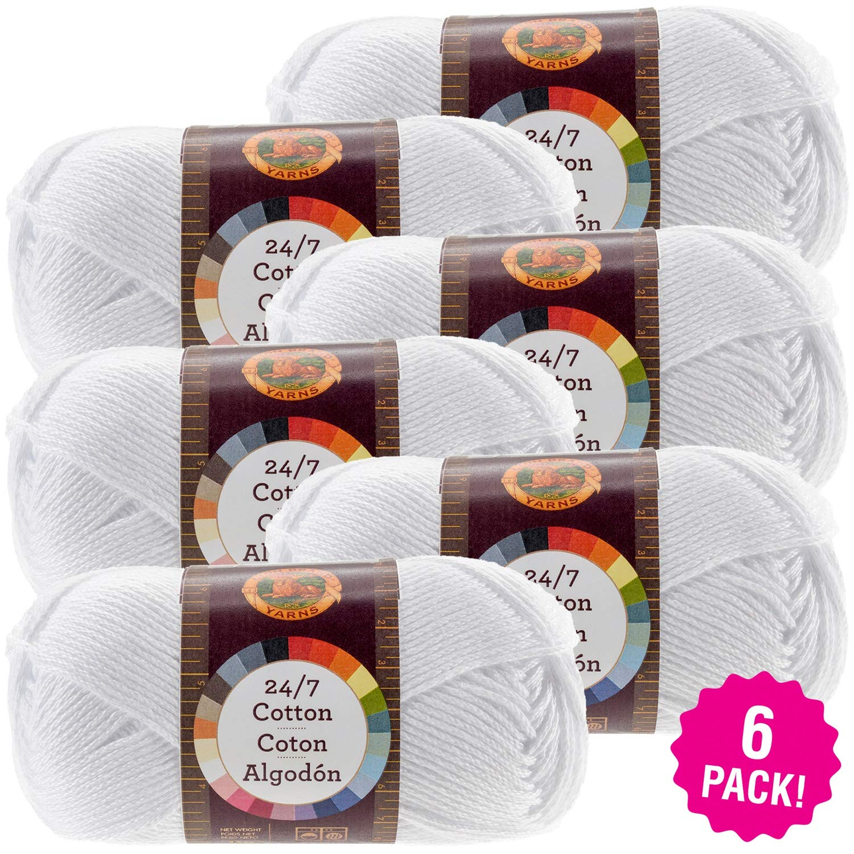 Lion Brand 98697 24/7 Cotton Yarn-6/Pk-White, 6/Pk White 6 Pack