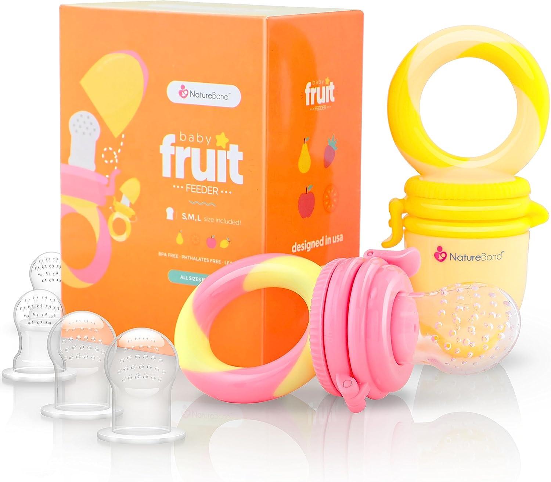 Alimentador antiahogo bebe, chupete fruta bebe de NatureBond (2 piezas), mordedores bebes   Además incluye bolsitas de silicona de todos los tamaños