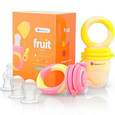 Alimentador para bebé/chupete para frutas de NatureBond (2 piezas) | Además incluye bolsitas de silicona de todos los tamaños