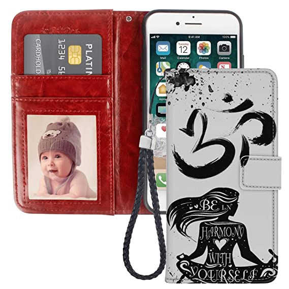 Yoga Buddha iPhone 8 Plus 7 Plus Wallet Case PU Leather Cover and TPU Protective Phone case with Card Holder Magnetic Folio Flip iPhone 8 Plus 7 Plus ...