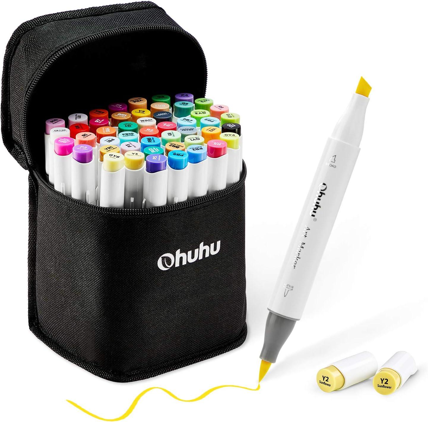 Juego de 48 rotuladores de colores para arte, punta doble, pincel y cincel para niños, artista, estudiantes, rotuladores para bocetos, colorear para adultos, caligrafía