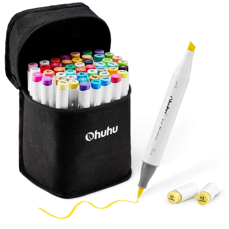 48-Color Art Markers Set, Ohuhu Dual Tip, Brush & Chisel, Sketch Marker for Kids, Artist, Students, Alcohol Brush Markers for Sketching, Adult Coloring, Calligraphy and Illustration, Bonus 1 Blender