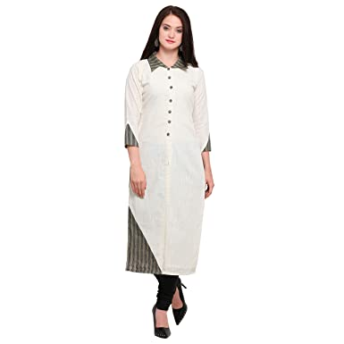 NEHA ENTERPRISE Women s Cotton Stitched Kurta (Off-White   Brown) Size  ... 5cd8df98a6