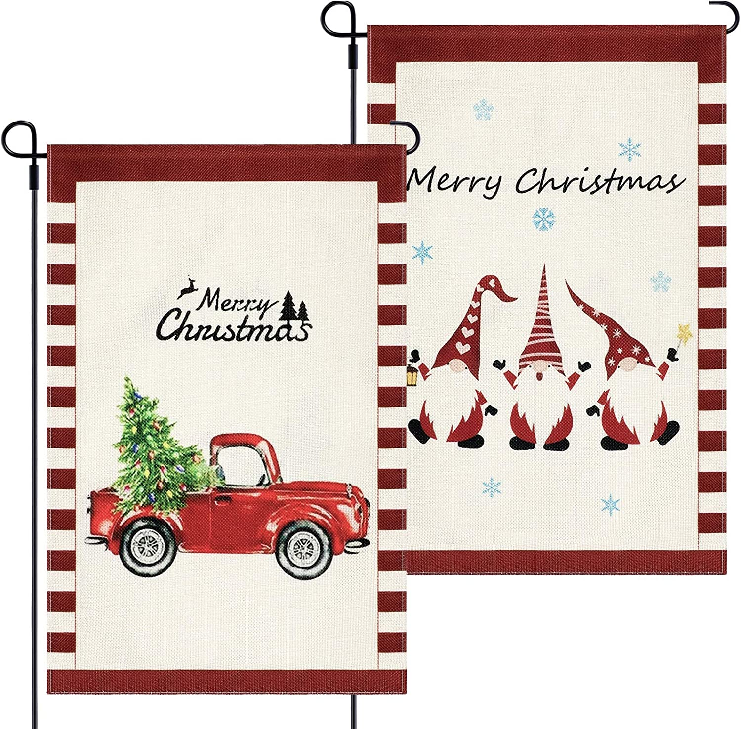 2 Pieces Christmas Garden Flag Double Sided Christmas Yard Flag Xmas Outdoor Flag Gnomes Red Truck Burlap Yard Winter Flag for Yard Garden Outdoor Christmas Decoration, 12 x 18 Inch