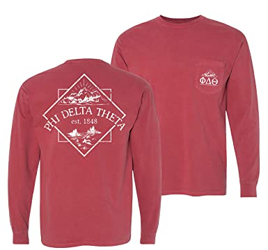 b3d08263 Image Unavailable. Image not available for. Color: Phi Delta Theta Crimson Comfort  Colors Long Sleeve Pocket Tee