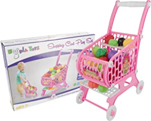 Hoopla Toys Kids & Toddler Toy Shopping Cart, 48Piece Play Set Children's Grocery Shopping Pretend Game