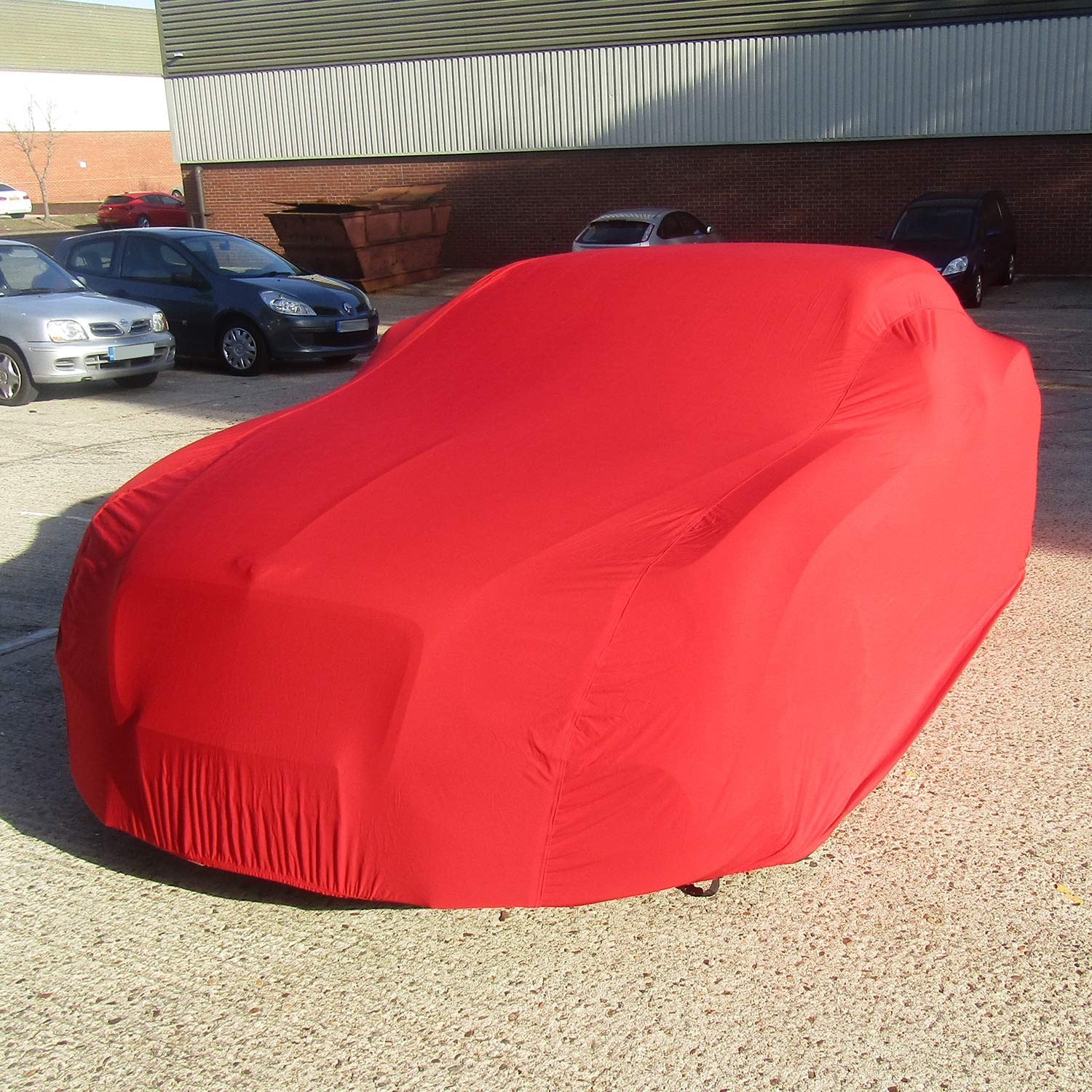 Automotive DELUXE Indoor Car Cover Super Soft breathable 130gsm Elastic Fabric Red, Medium