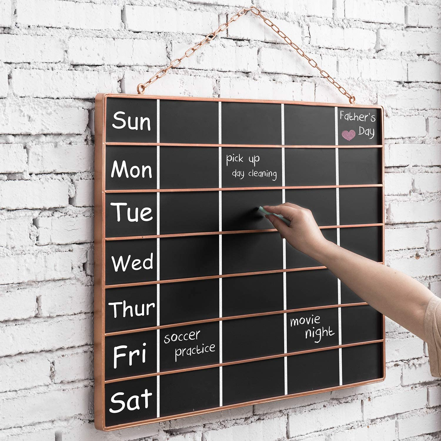 MyGift Wall Hanging Chalkboard Weekly Planner Calendar with Copper Tone Metal Frame