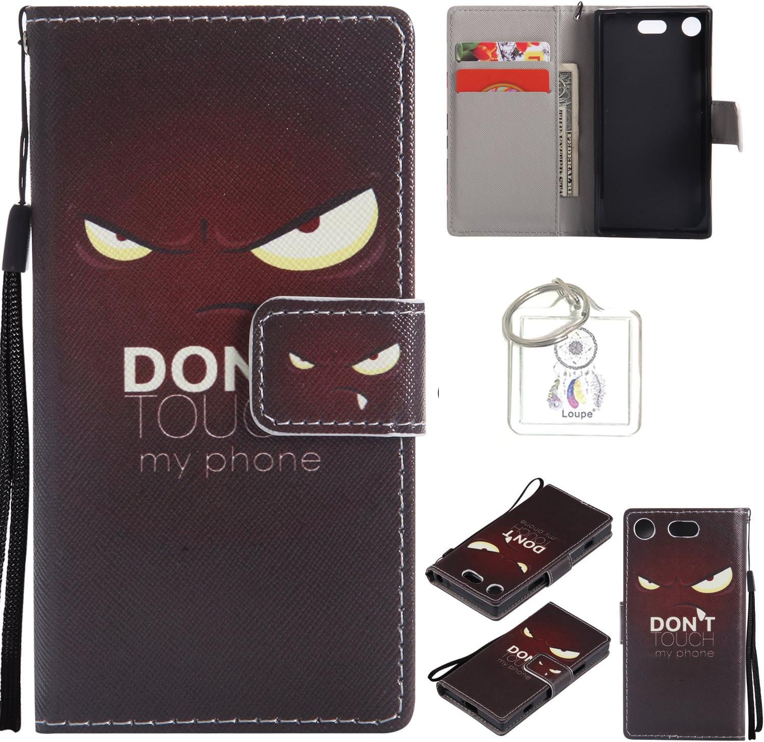 Para carcasa Sony Xperia XZ1Compact, Funda Carcasa Protector Tapa Cartera Cuero PU Lujo con Ranuras y Soporte de tarjeta + llavero (o)