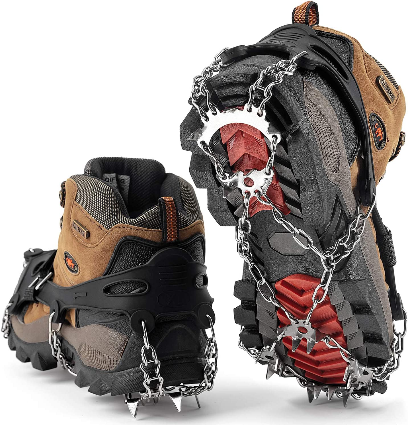 Black, M Hiking Wirezoll Ice Cleats Stainless Steel Traction Cleats Jogging Mountaineering Ice Snow Grips Portable Walk Spikes Crampons for Walking